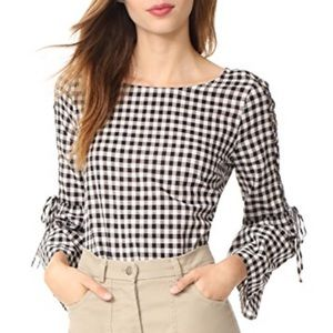 Madewell Gingham Lace Up Belle Sleeve